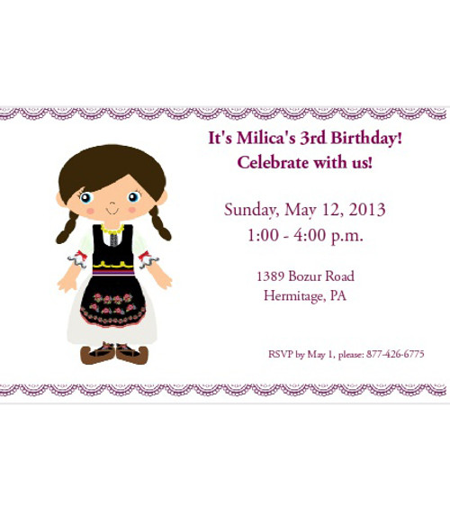 Serbian Girl Customized Party Invitations- Set of 25