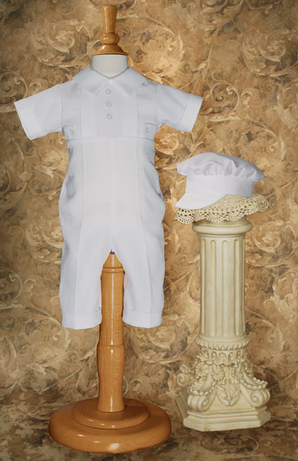 Boys Baptismal Coverall with Captain Hat