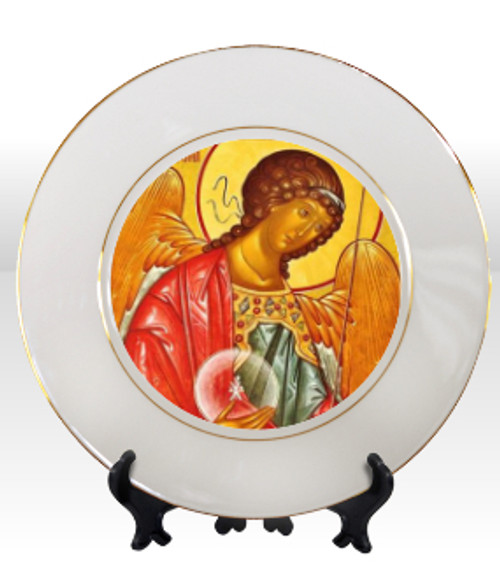 "8 1/4"" Porcelain Icon Plate with 24K Gold Trim: St. Archangel Michael"