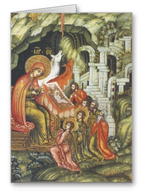 Nativity of Christ Icon II Greeting Card