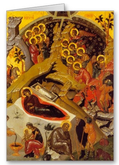 Nativity of Christ Icon III Greeting Card