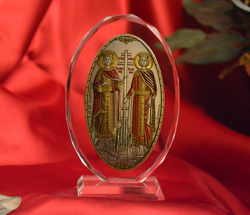 Italian Silver Icon of Ss. Constantine and Helen on Glass Stand (Color Accents)