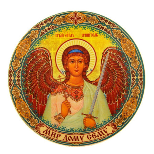 Round Thick Acrylic Magnet: Guardian Angel