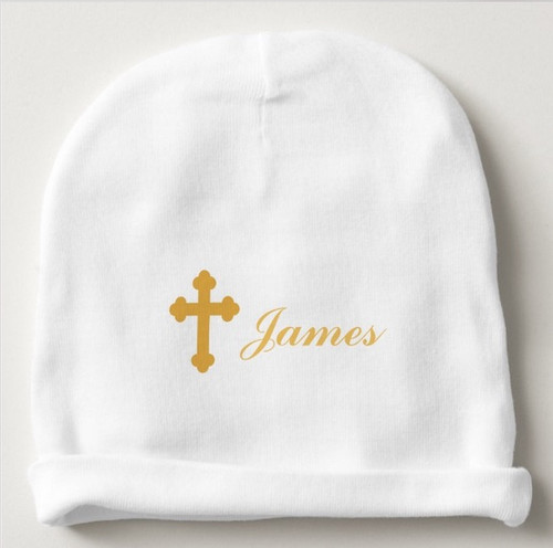 Gold Cross Baby Cap- Personalized IN ANY LANGUAGE!