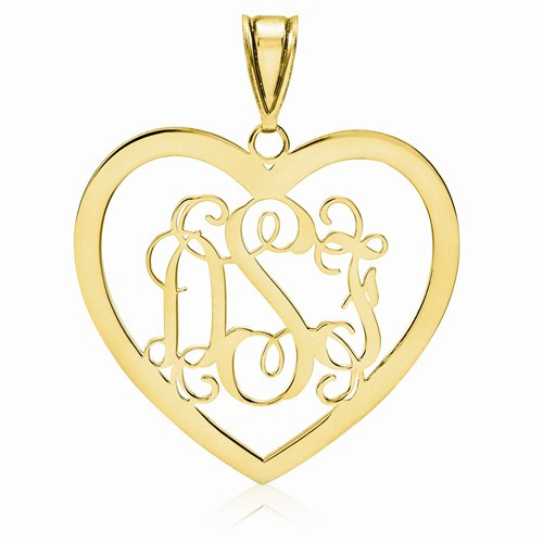 """Gold Plated over Sterling Silver Heart Monogram Pendant 1 1/8"""""""