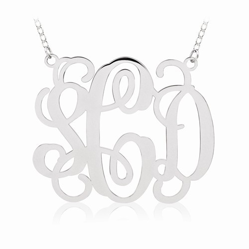 "Sterling Silver Round Monogram Pendant 1 5/8"" with 18"" SS Chain"