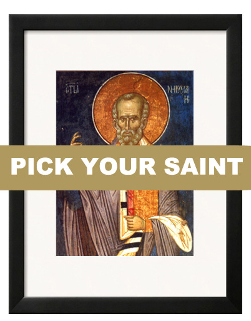 """Pick-Your-Saint Matted and Framed Icon Print: 11 x 13"""" Frame"""