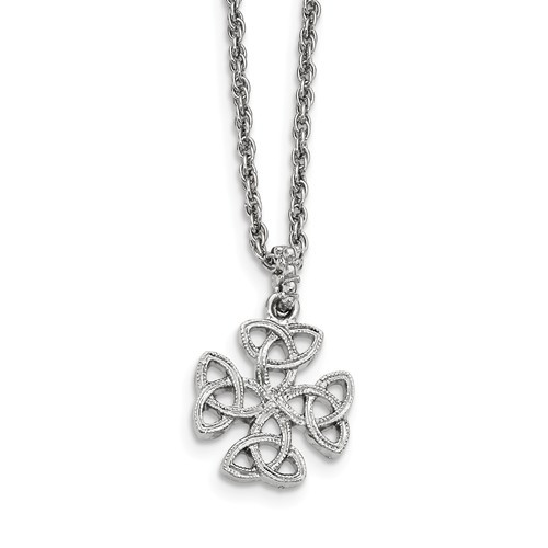 Silver-tone Celtic Trinity Cross with Adjustible Chain