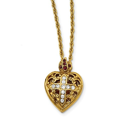 14K Gold Plated 20mm Crystal Heart Photo Locket with Adjustible Chain