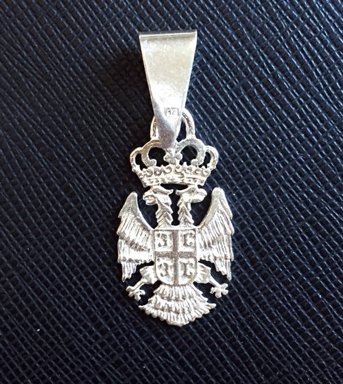"Sterling Silver 4Cs Serbian Grb Pendant- 1 1/8""- MEDIUM"