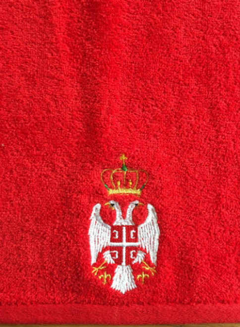 Serbian Crest Embroidered Beach Towel- Red