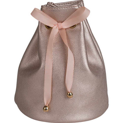 Leatherette Gift Pouch with Satin Drawstring Ribbon: Pink Metallic