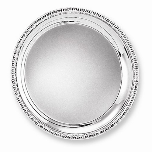 "Engravable Silver-Plated 12 1/4"" Round Fancy Edge Tray"