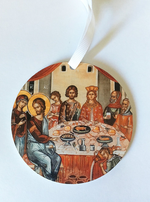 Wedding at Cana Dual-Sided Round Acrylic Icon Ornament