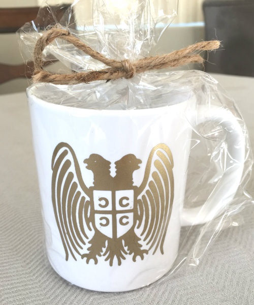 Serbian Double Headed Eagle Mug in Gold or Silver Metallic Foil