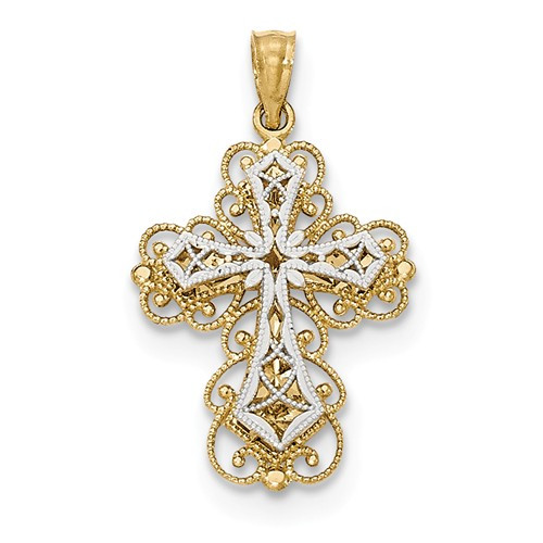 14K Yellow & White Gold Polished Stacked Filigree Cross Pendant- 1 1/16""
