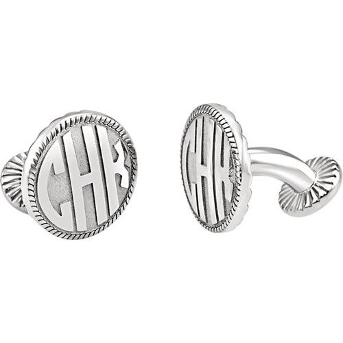 Personalized Sterling Silver 3-Letter Block Monogram Cufflink Set