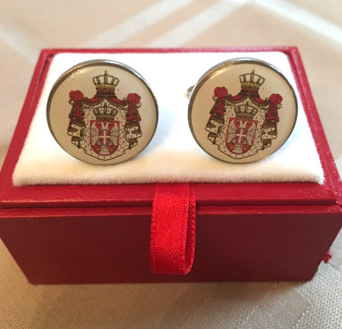 Serbian Church Crest Stainless Steel Cufflinks