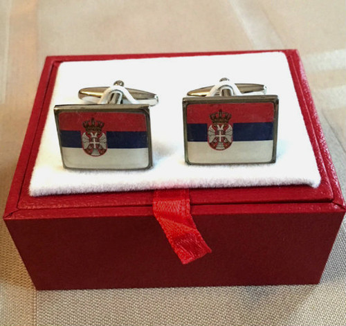 Serbian Flag Stainless Steel Cufflinks