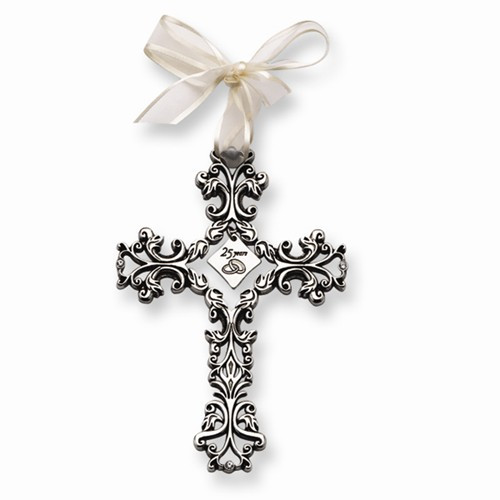 25 Years Anniversary Silver Hanging Wall Cross- 4 3/4""