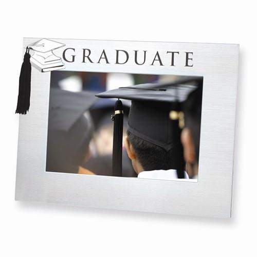 Engravable Polished and Satin Aluminum Graduate 4 x 6 Photo Frame