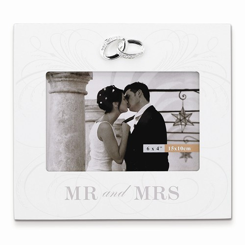 """Mr and Mrs"" Ivory Wood  6 x 4 Frame with Wedding Bands Accent"