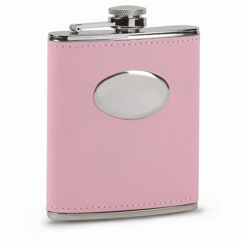 Engravable Pink Faux Leather Polished Stainless Steel 7oz Hip Flask