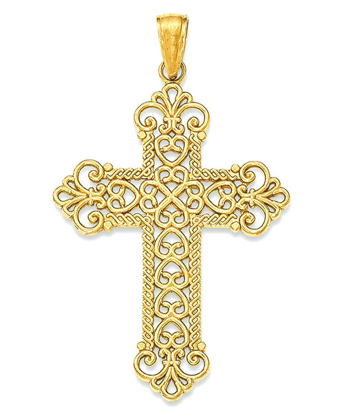 14KT Royal Swirl Cross- 1 3/8""