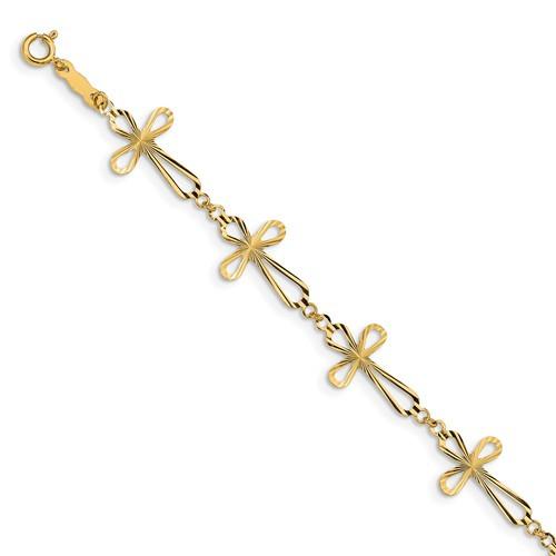 """14KT Diamond Cut Open Cross 7 1/2"""" Bracelet"""