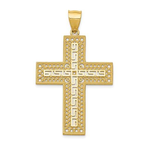 "14KT Greek Filigree Cross Pendant- 1 1/2"""