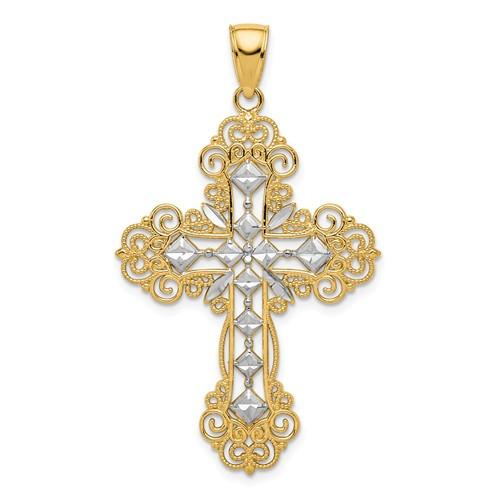 "14KT and Rhodium Polished & Textured Diamond Pattern Cross Pendant- 1 1/2"""