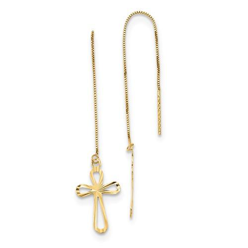 14KT D/C Box Chain with Cross Threader Earrings