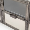 Element Industrial Iron Media Stand-Nickel  with glass doors