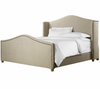 Aria Wing Linen Upholstered Platform Queen Bed Frame