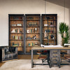 French Library Reclaimed Wood Single Bookcase-Black