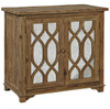 French Reclaimed Wood 2 Door Mirrored Cabinet