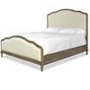 French Oak Camelback Upholstered Panel Bed Frame-Queen