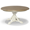 Coastal Beach White Oak round extendable dining table pedestal