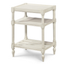 Country-Chic Maple Wood White Side Table With Shelf