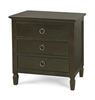 Country-Chic Maple Wood 3 Drawer Nightstand - Black