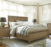 French Modern Hickory Wood King Panel Headboard Bed Frame