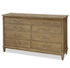 French Modern Hickory Wood 8 Drawer Double Dresser