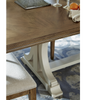 French Modern Light Wood Trestle Extension Dining Table, White