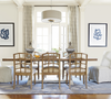 French Modern Light Wood Trestle Extension Dining Room Table