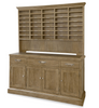 French Modern Light Wood 4 Door Sideboard with Vintner's Bar Hutch