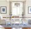 French Modern Slip Upholstered White Dining Room ArmChair