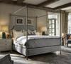 Sojourn Respite Grey Linen Upholstered Queen Metal Canopy Bed