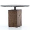 "Boomer Rustic Industrial Wood Block Pedestal Bistro Table 42"""