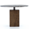 "Boomer Rustic Industrial Wood Block Pedestal Round Bistro Table 42"""