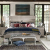 Belgian Style Carved King Panel Bed - Antiqued White